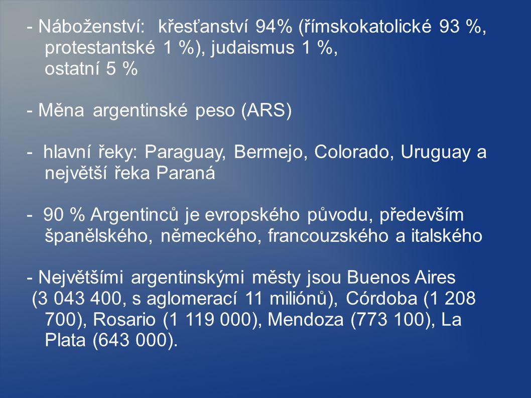 - Náboženství: křesťanství 94% (římskokatolické 93 %, protestantské 1 %), judaismus 1 %, ostatní 5 %