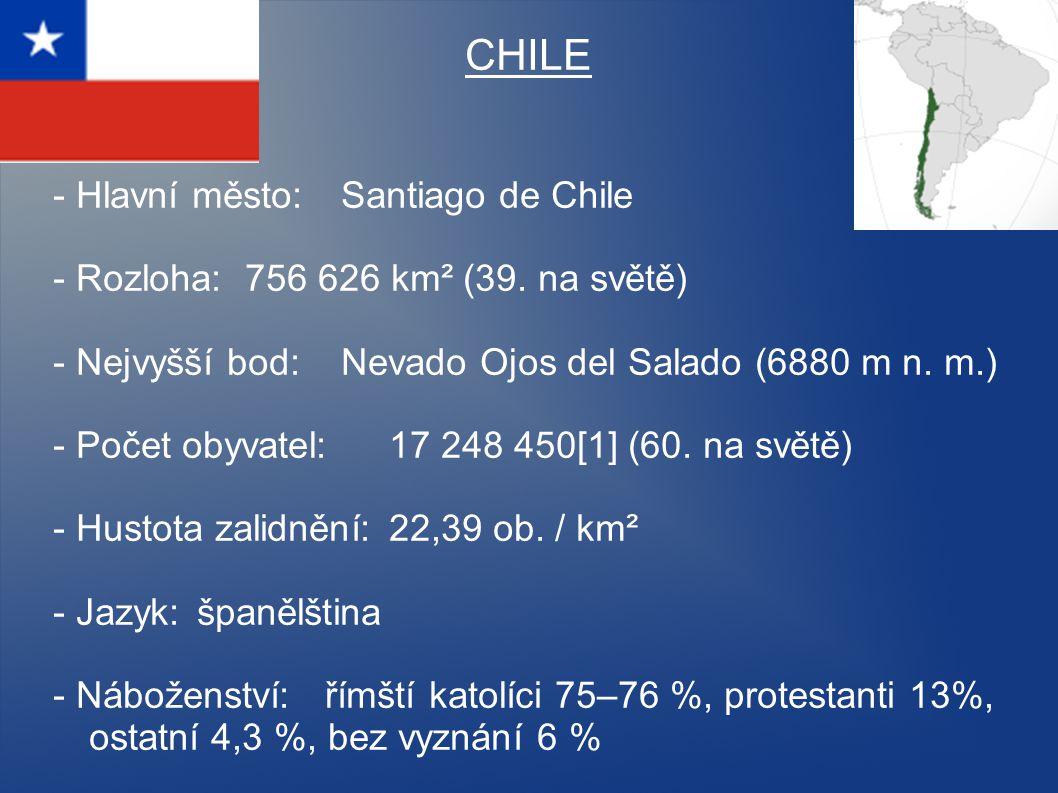 CHILE - Hlavní město: Santiago de Chile