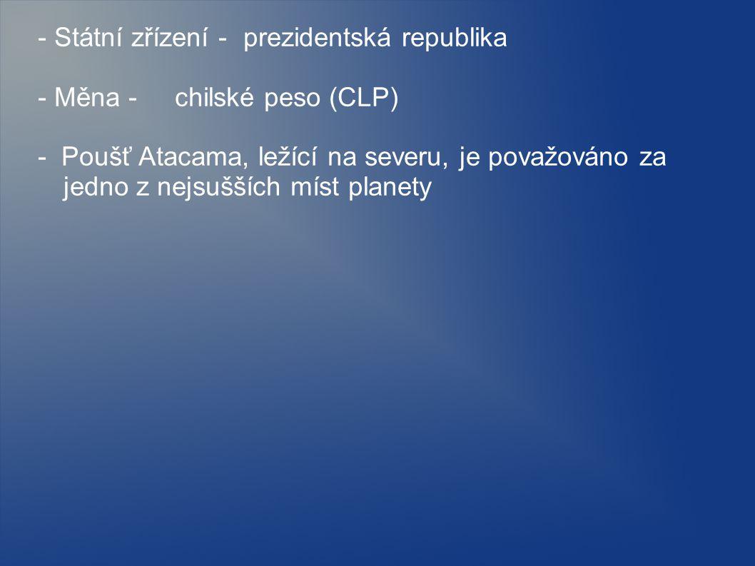 - Státní zřízení - prezidentská republika