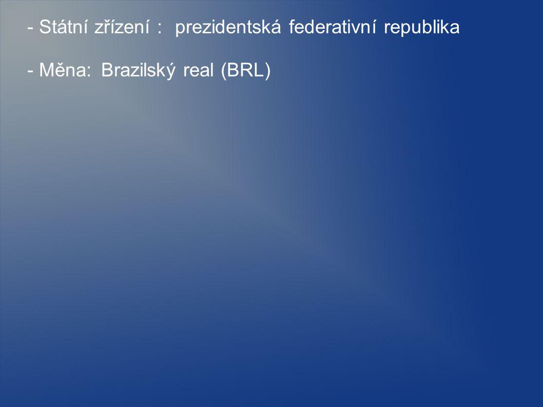 - Státní zřízení : prezidentská federativní republika
