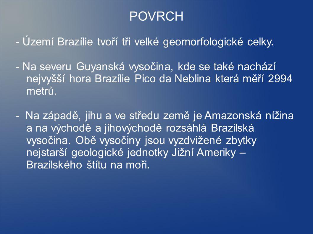 POVRCH - Území Brazílie tvoří tři velké geomorfologické celky.