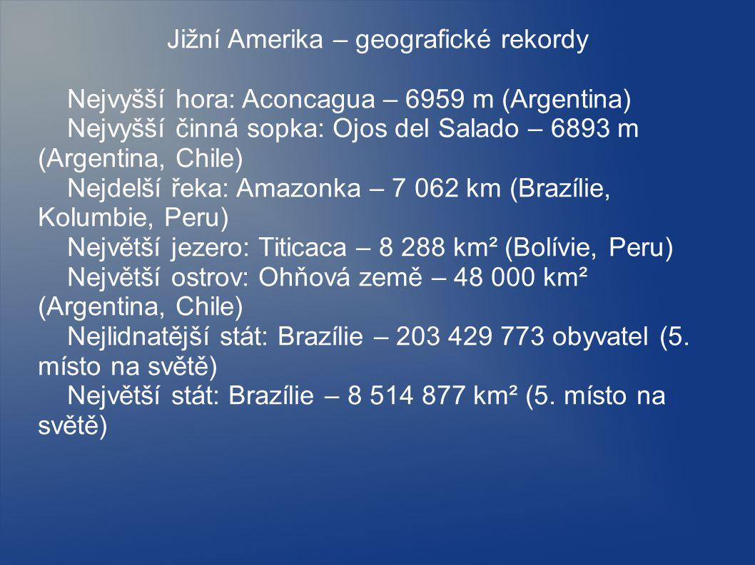 Jižní Amerika – geografické rekordy