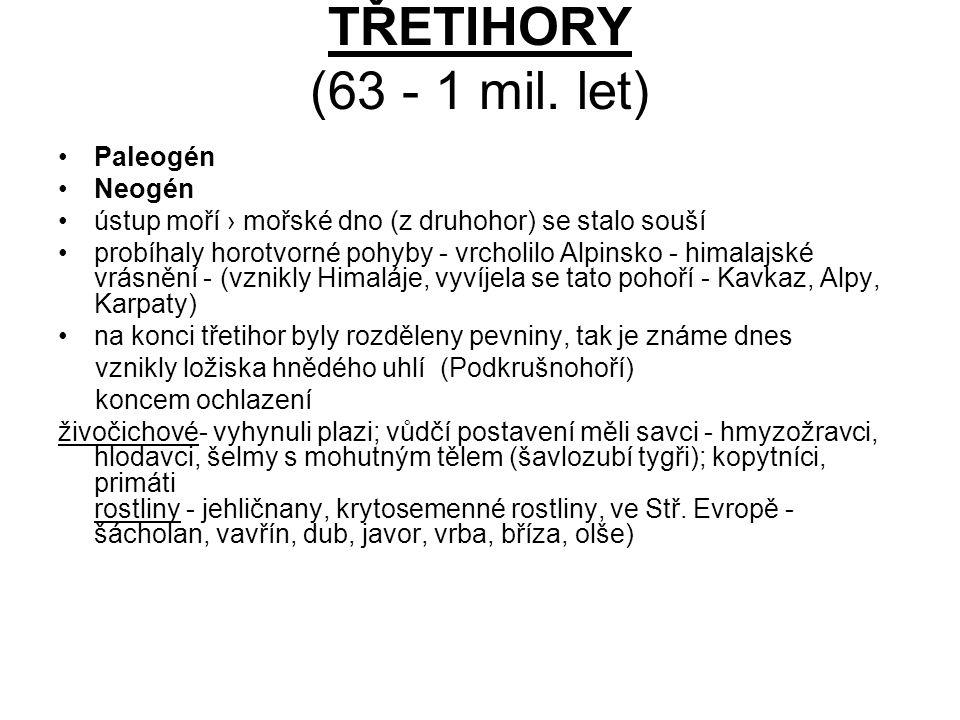 TŘETIHORY (63 - 1 mil. let) Paleogén Neogén