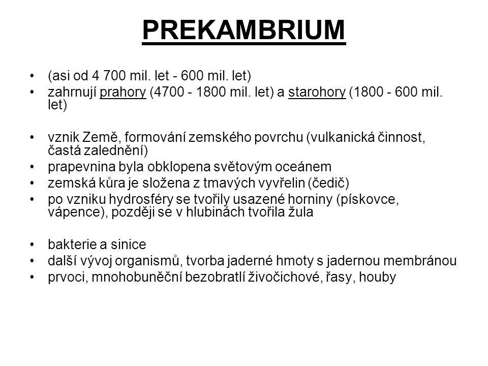 PREKAMBRIUM (asi od 4 700 mil. let - 600 mil. let)