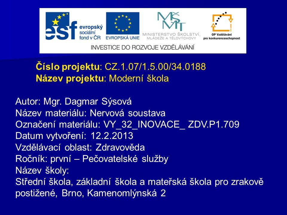 Číslo projektu: CZ.1.07/1.5.00/34.0188 Název projektu: Moderní škola. Autor: Mgr. Dagmar Sýsová. Název materiálu: Nervová soustava.