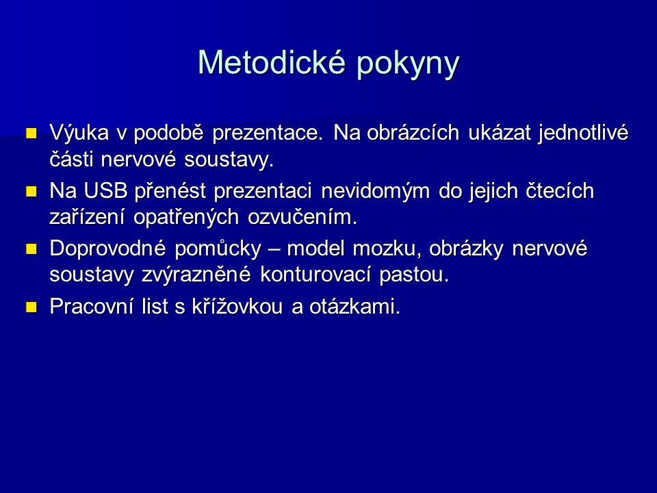 Metodické pokyny Výuka v podobě prezentace. Na obrázcích ukázat jednotlivé části nervové soustavy.