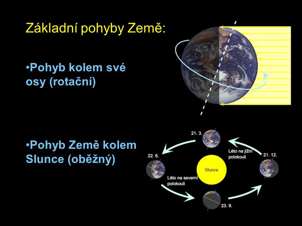 Základní pohyby Země: Pohyb kolem své osy (rotační)