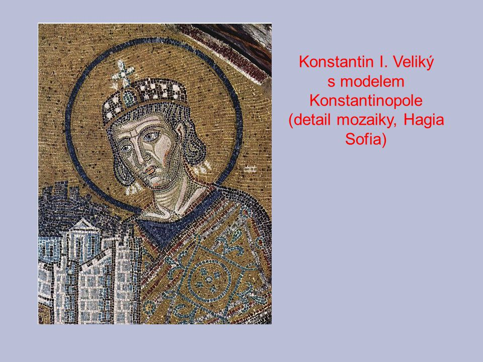 Konstantinopole (detail mozaiky, Hagia Sofia)