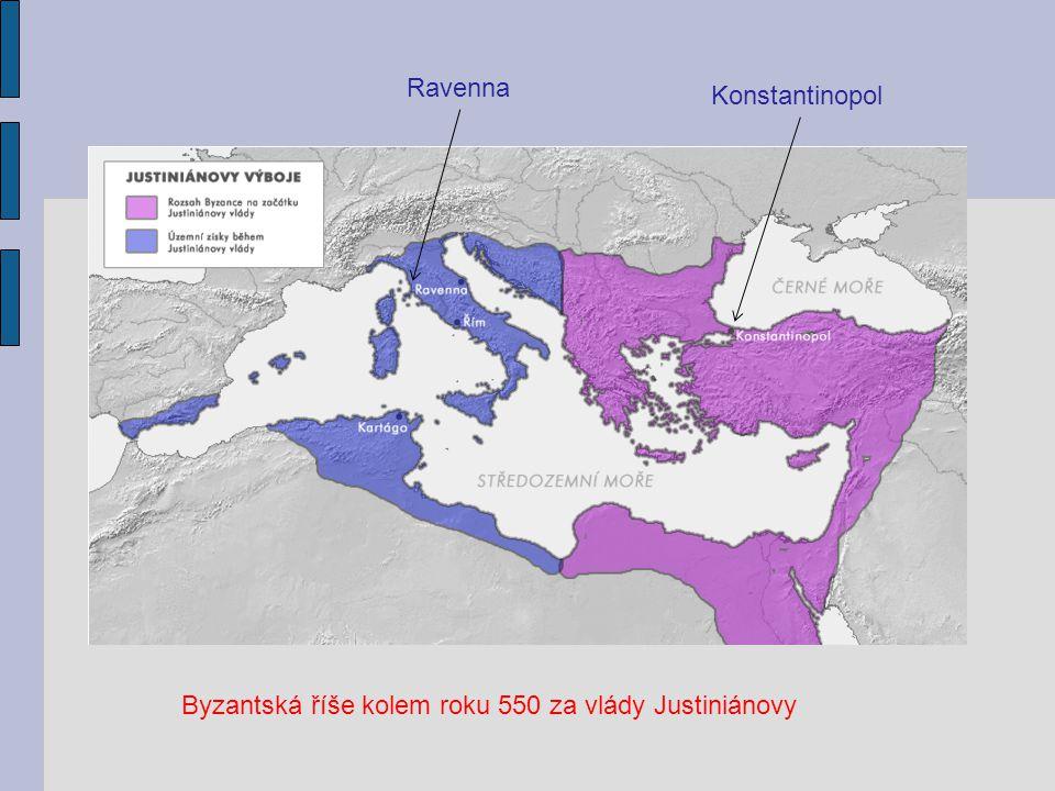 Ravenna Konstantinopol Byzantská říše kolem roku 550 za vlády Justiniánovy