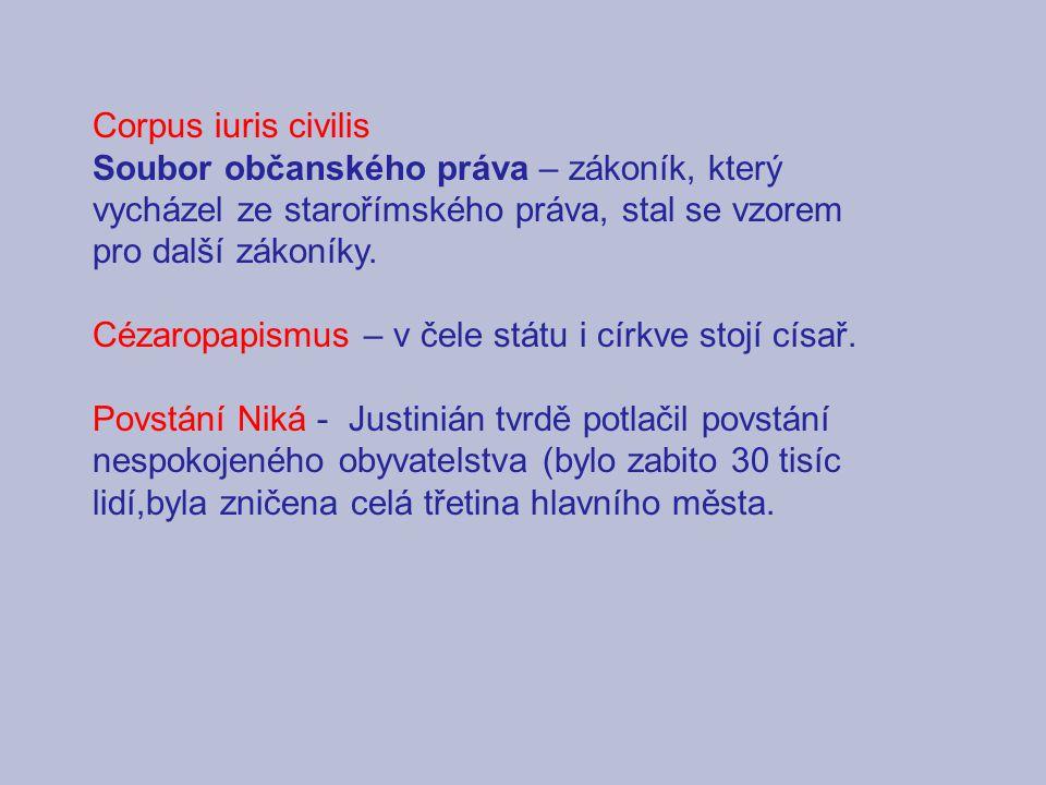 Corpus iuris civilis Soubor občanského práva – zákoník, který vycházel ze starořímského práva, stal se vzorem pro další zákoníky.