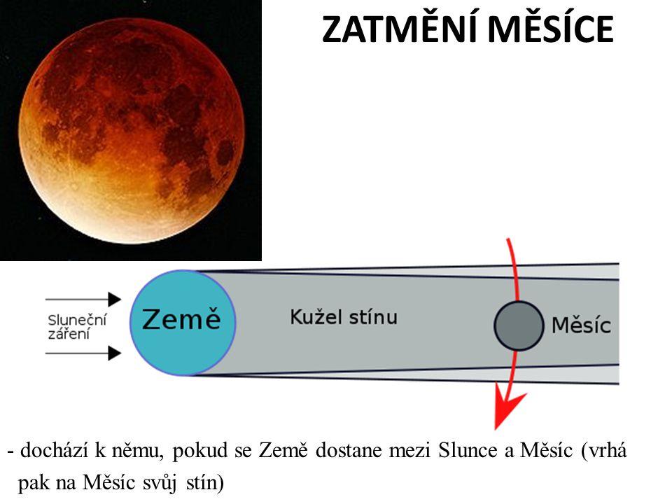 ZATMĚNÍ MĚSÍCE dochází k němu, pokud se Země dostane mezi Slunce a Měsíc (vrhá.
