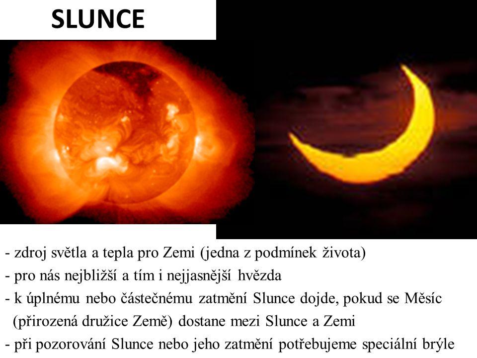 SLUNCE zdroj světla a tepla pro Zemi (jedna z podmínek života)