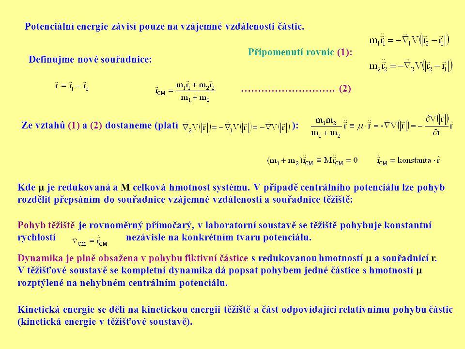 Potenciální energie závisí pouze na vzájemné vzdálenosti částic.