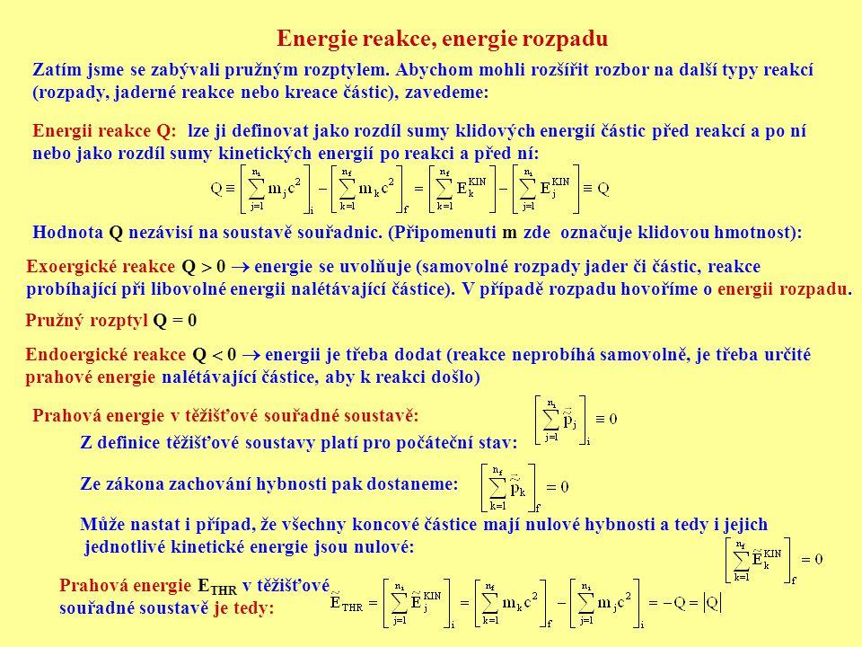 Energie reakce, energie rozpadu