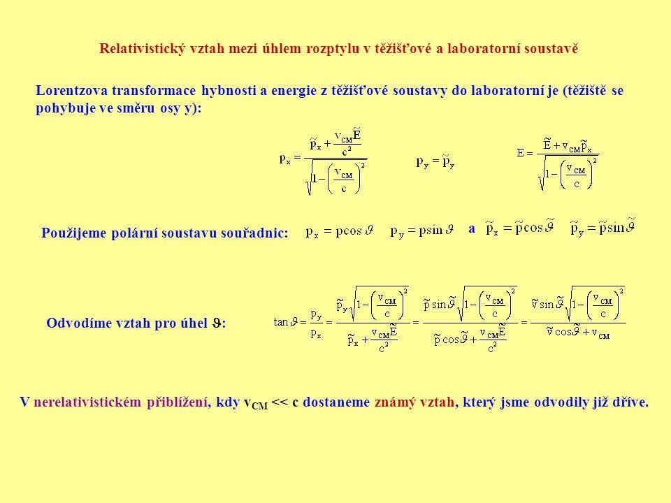 Relativistický vztah mezi úhlem rozptylu v těžišťové a laboratorní soustavě
