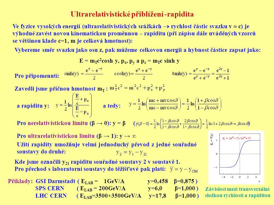 Ultrarelativistické přiblížení -rapidita Závislost mezi transverzální