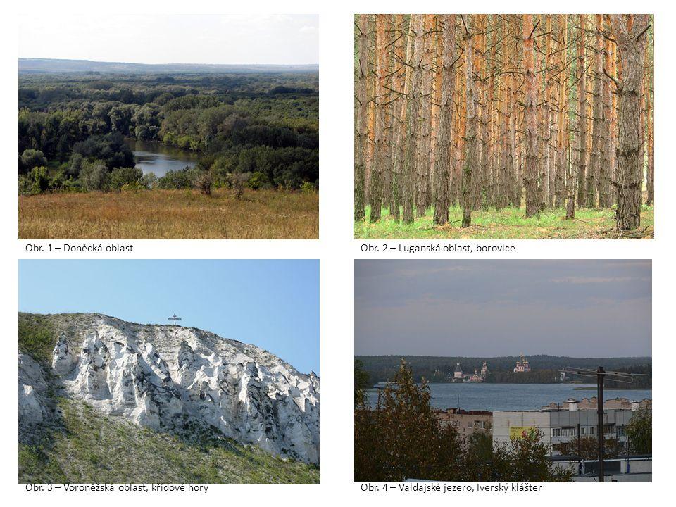 Obr. 1 – Doněcká oblast Obr. 2 – Luganská oblast, borovice. Obr. 3 – Voroněžská oblast, křídové hory.