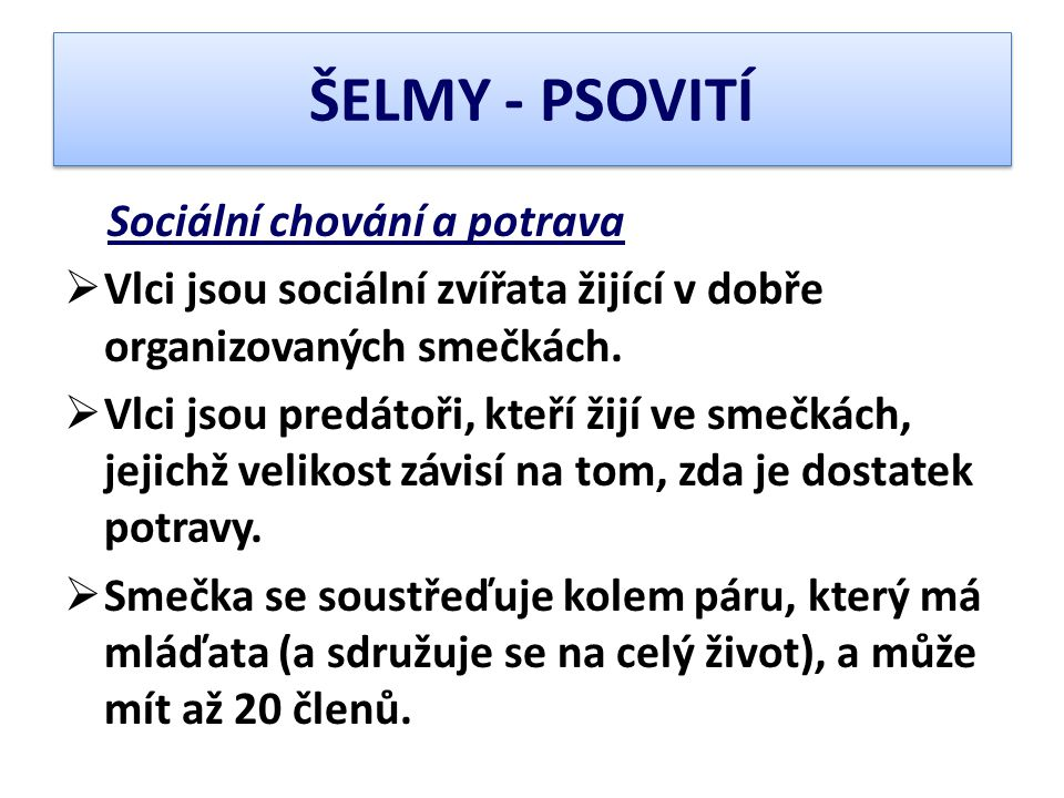 ŠELMY - PSOVITÍ Sociální chování a potrava