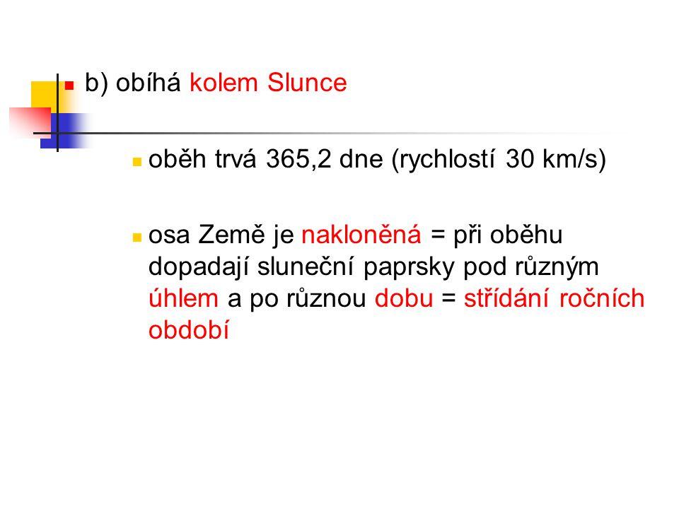 b) obíhá kolem Slunce oběh trvá 365,2 dne (rychlostí 30 km/s)