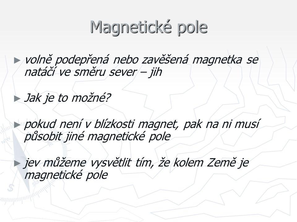Magnetické pole volně podepřená nebo zavěšená magnetka se natáčí ve směru sever – jih. Jak je to možné