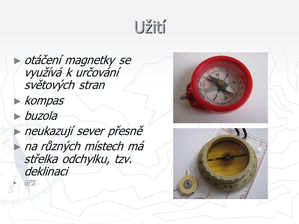 Užití otáčení magnetky se využívá k určování světových stran kompas