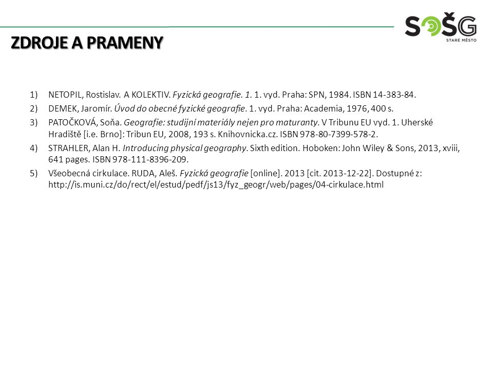 Zdroje a prameny NETOPIL, Rostislav. A KOLEKTIV. Fyzická geografie. 1. 1. vyd. Praha: SPN, 1984. ISBN 14-383-84.