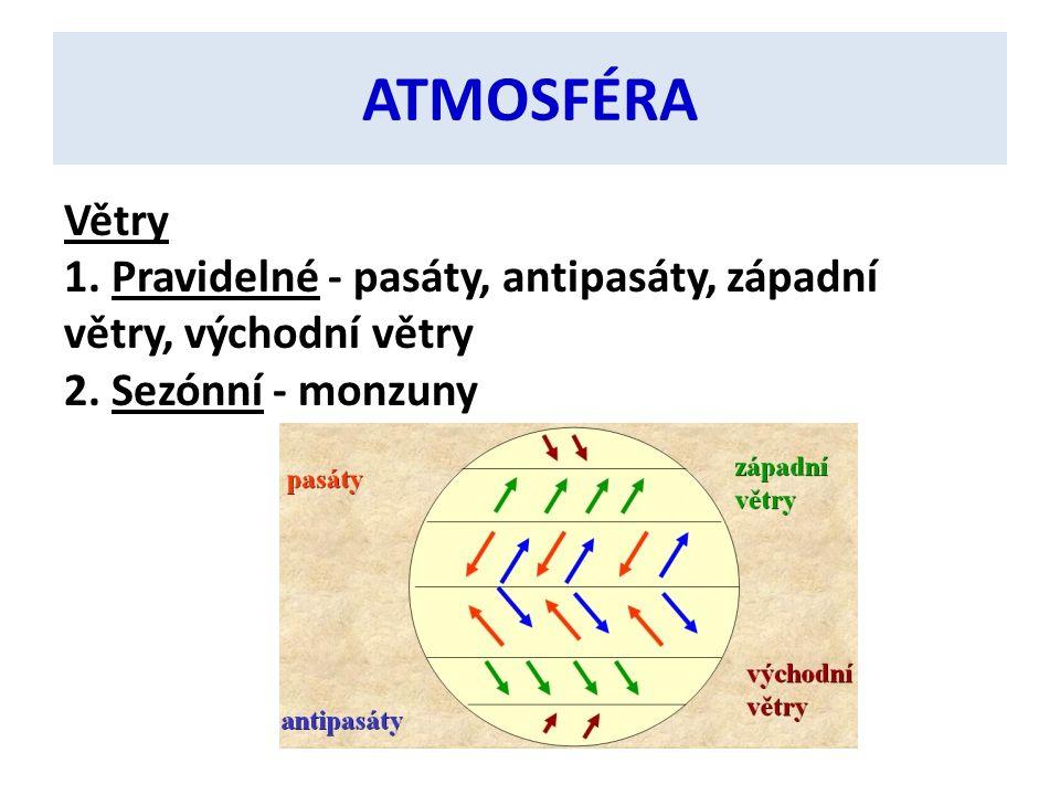 ATMOSFÉRA Větry 1. Pravidelné - pasáty, antipasáty, západní větry, východní větry 2.