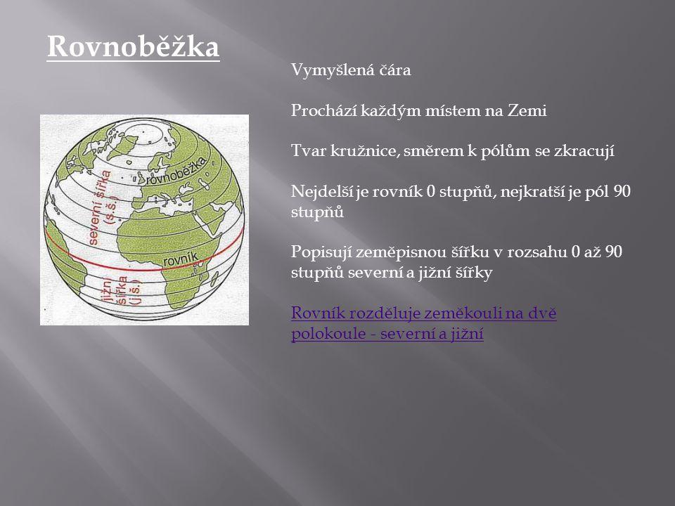 Rovnoběžka Vymyšlená čára Prochází každým místem na Zemi