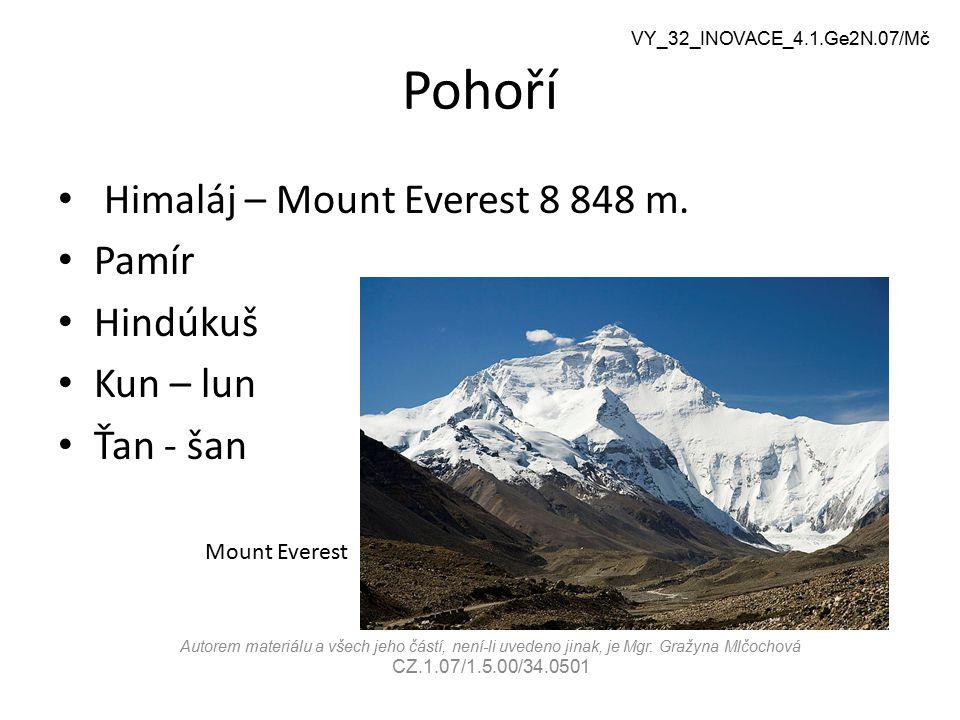 Pohoří Himaláj – Mount Everest 8 848 m. Pamír Hindúkuš Kun – lun
