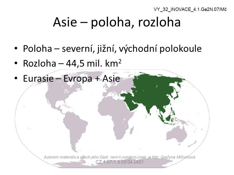 Asie – poloha, rozloha Poloha – severní, jižní, východní polokoule