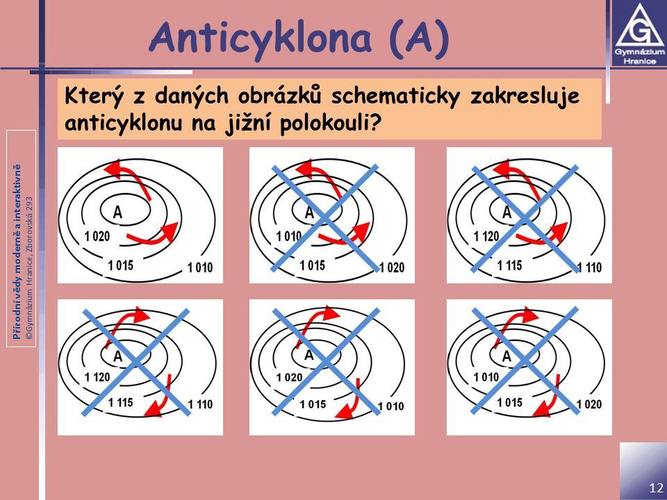 Anticyklona (A) Který z daných obrázků schematicky zakresluje anticyklonu na jižní polokouli