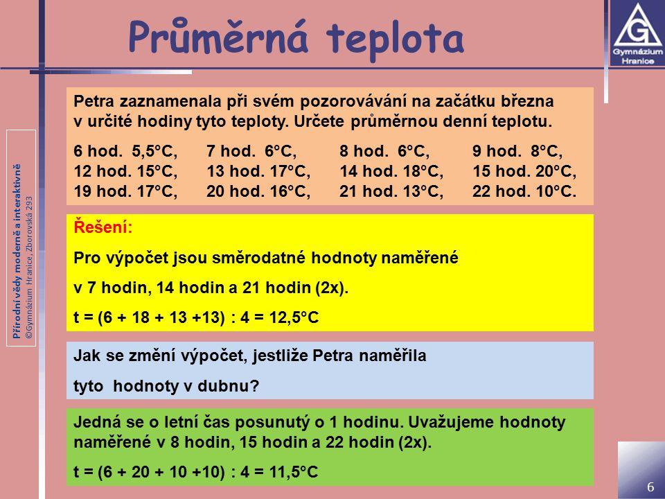 Průměrná teplota Petra zaznamenala při svém pozorovávání na začátku března v určité hodiny tyto teploty. Určete průměrnou denní teplotu.
