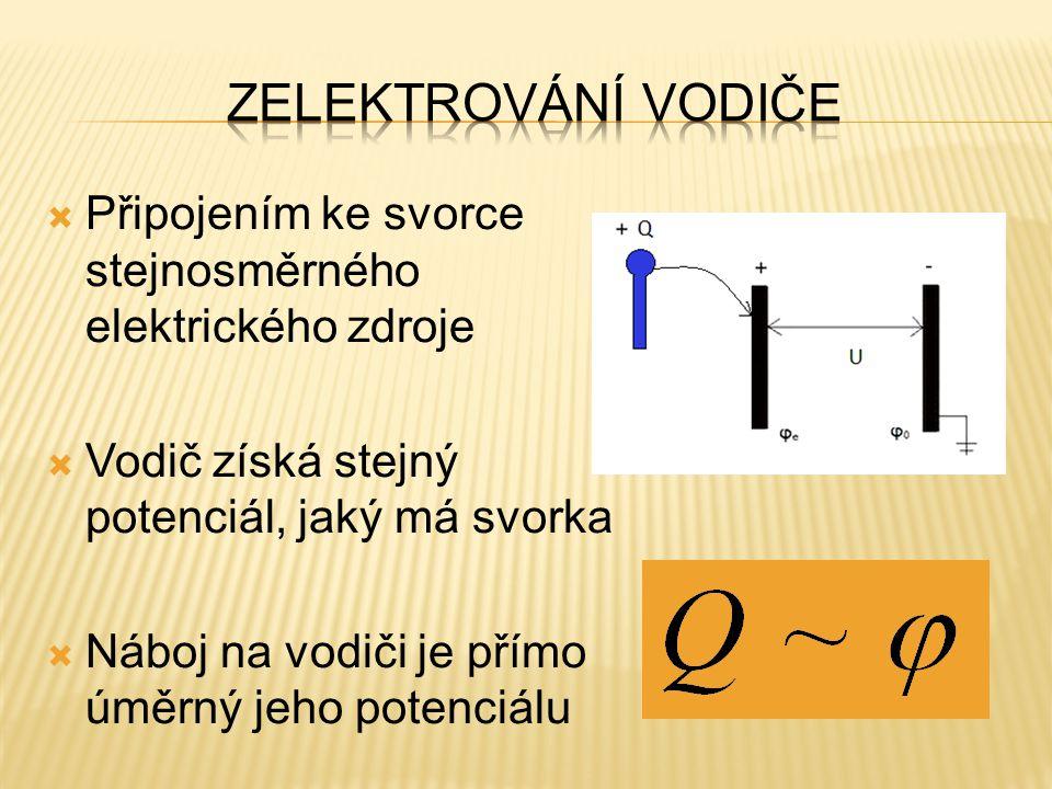 Zelektrování vodiče Připojením ke svorce stejnosměrného elektrického zdroje. Vodič získá stejný potenciál, jaký má svorka.