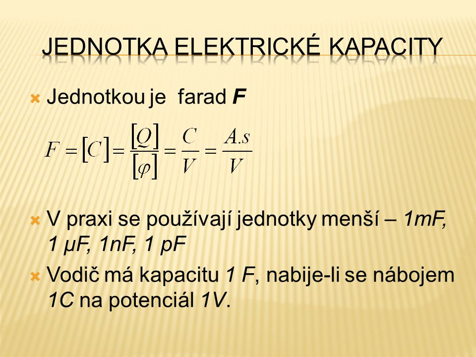 Jednotka elektrické kapacity