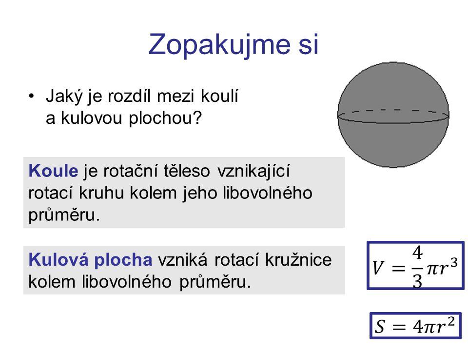Zopakujme si Jaký je rozdíl mezi koulí a kulovou plochou