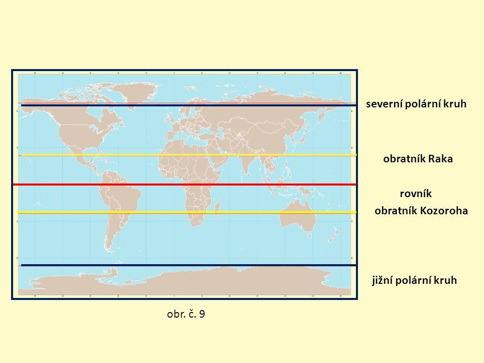 severní polární kruh obratník Raka rovník obratník Kozoroha
