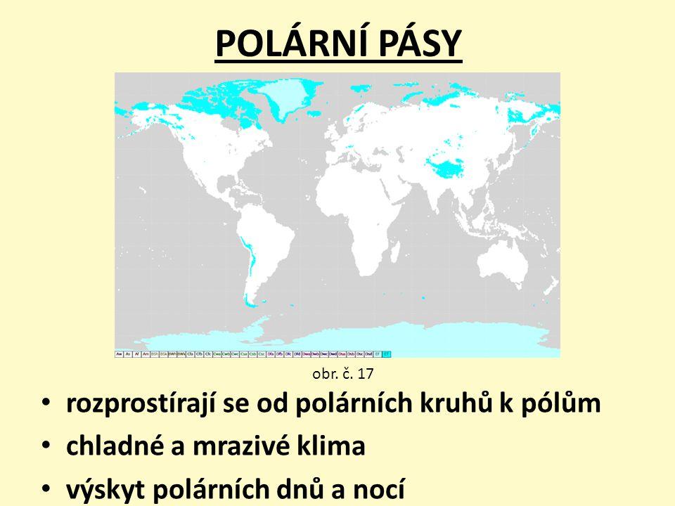 POLÁRNÍ PÁSY rozprostírají se od polárních kruhů k pólům