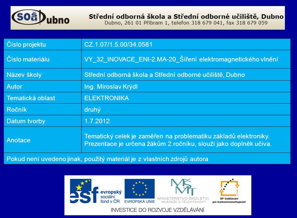 Číslo projektu CZ.1.07/1.5.00/34.0581. Číslo materiálu. VY_32_INOVACE_ENI-2.MA-20_Šíření elektromagnetického vlnění.