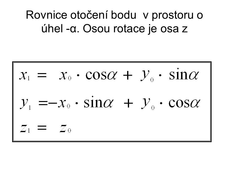 Rovnice otočení bodu v prostoru o úhel -α. Osou rotace je osa z