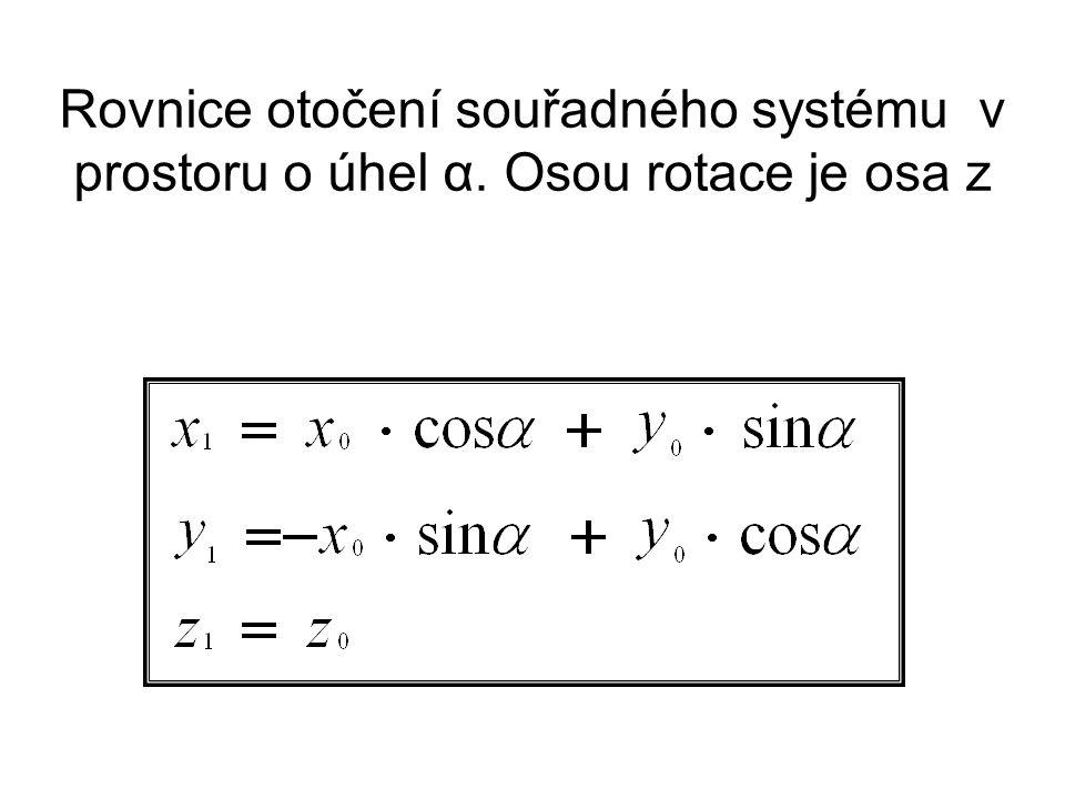 Rovnice otočení souřadného systému v prostoru o úhel α