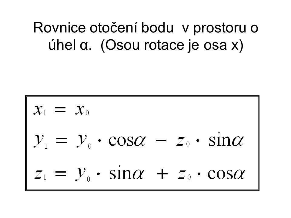 Rovnice otočení bodu v prostoru o úhel α. (Osou rotace je osa x)