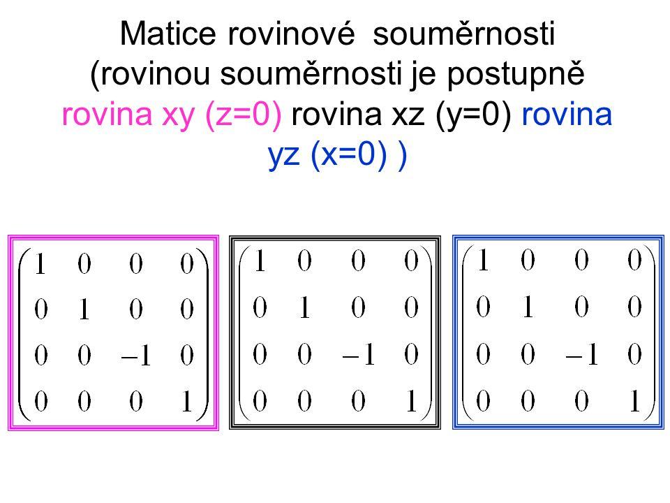 Matice rovinové souměrnosti (rovinou souměrnosti je postupně rovina xy (z=0) rovina xz (y=0) rovina yz (x=0) )