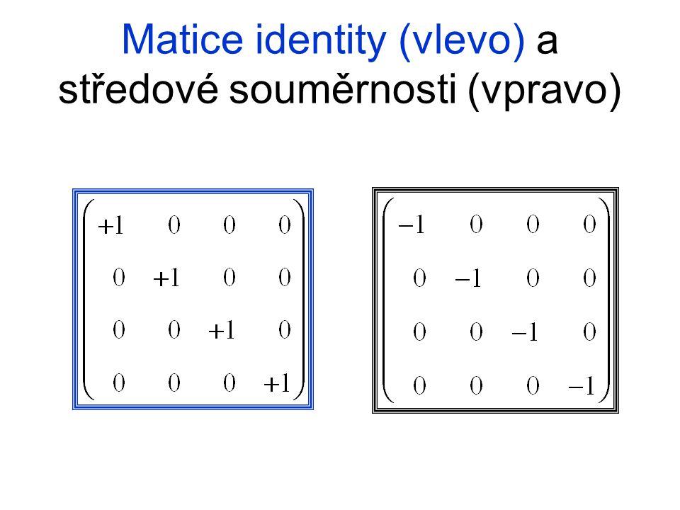 Matice identity (vlevo) a středové souměrnosti (vpravo)