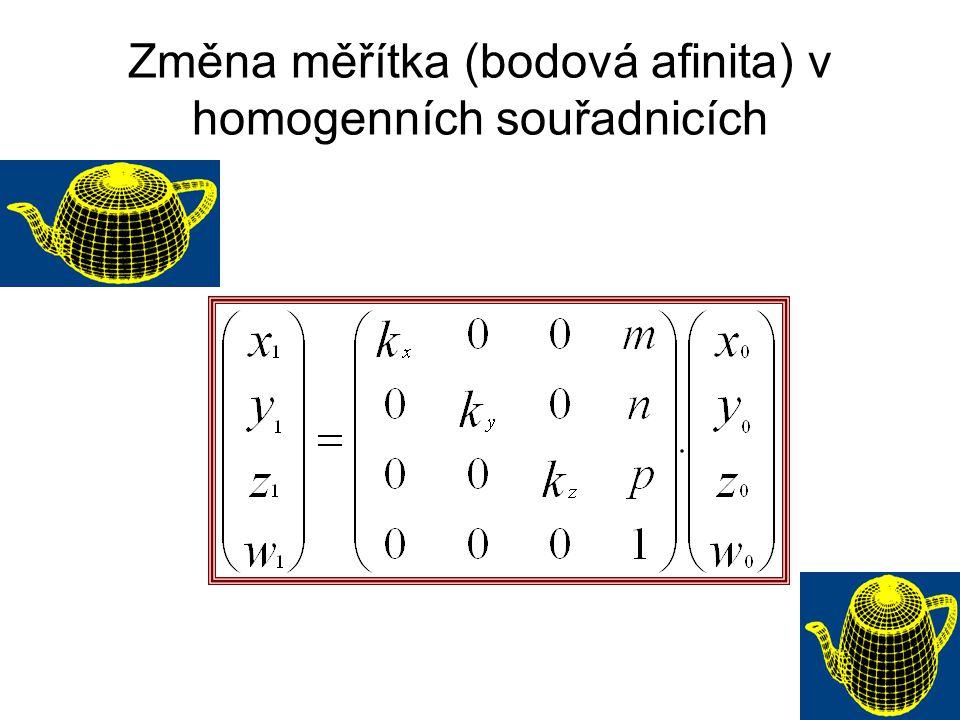 Změna měřítka (bodová afinita) v homogenních souřadnicích