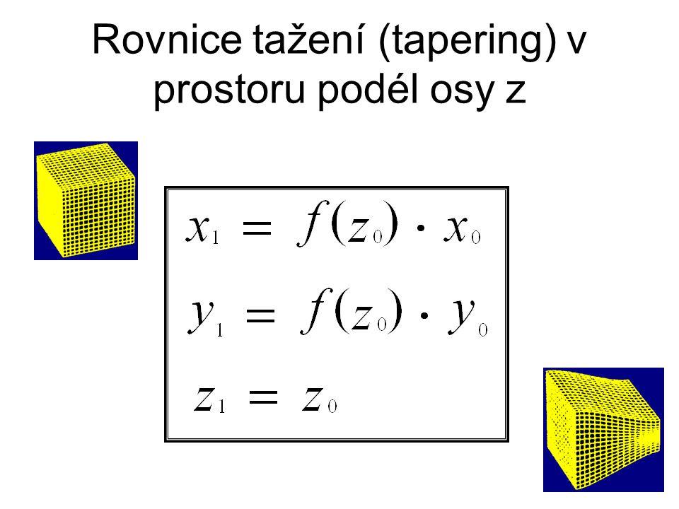 Rovnice tažení (tapering) v prostoru podél osy z