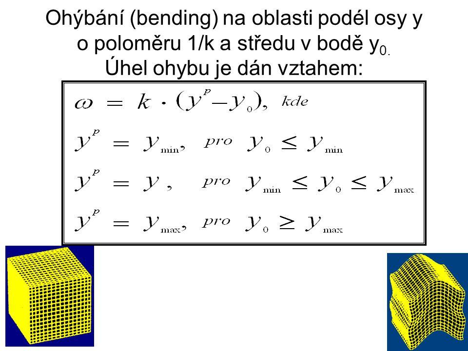 Ohýbání (bending) na oblasti podél osy y o poloměru 1/k a středu v bodě y0.