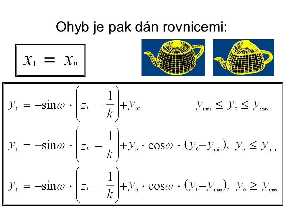 Ohyb je pak dán rovnicemi: