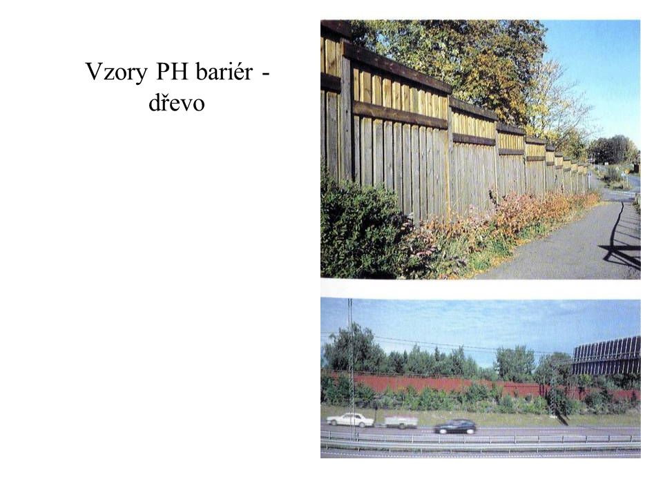 Vzory PH bariér - dřevo