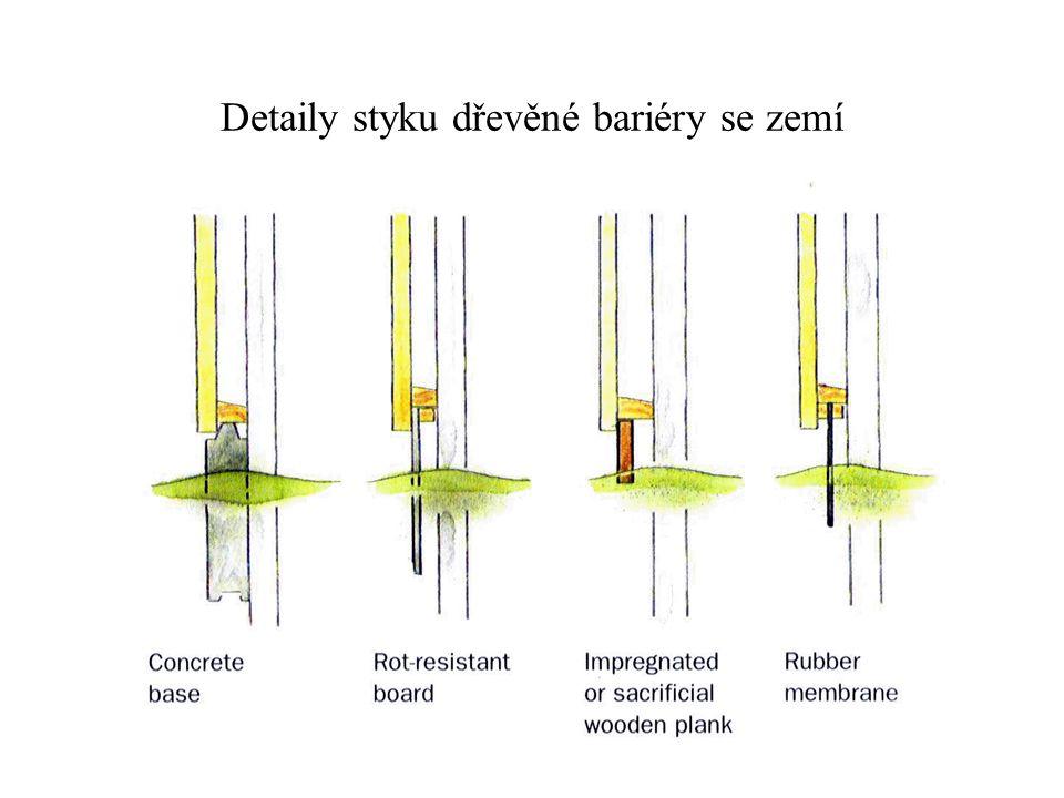 Detaily styku dřevěné bariéry se zemí