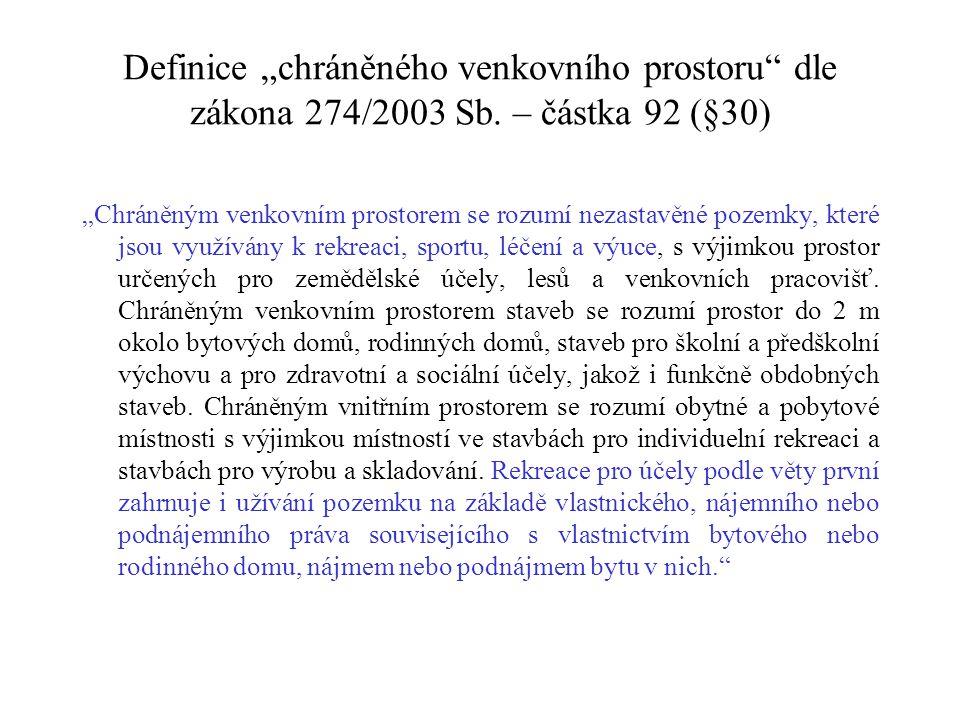 """Definice """"chráněného venkovního prostoru dle zákona 274/2003 Sb"""